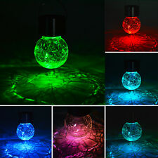 Solar Power Glass Ball 7 Color Change LED Lamp Outdoor Garden Light Xmas Decor