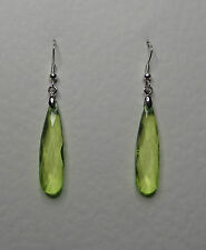 SLENDER LIME GREEN ACRYLIC CRYSTAL TEARDROP SILVER PLATED DROP EARRINGS