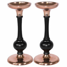 2 x Copper Black Metal Tapered Candle Sticks Holders Vintage Shabby Chic Decor