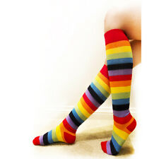 Rainbow Women Socks Multi-color Pride Soccer Striped Knee High One Size