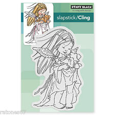 New Penny Black PUPPY GUARDIAN Cling Rubber Stamp Angel Wings Girl Child