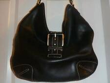 MICHAEL KORS large black LEATHER purse handbag silver STUDS hobo bag
