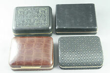 4 VTG Leather/Fabric Covered Cufflinks Display Boxes Anson Elegance Viscount