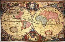 "ANTIQUE MAP OF THE WORLD FULLY LINED 55"" X 35"" TAPESTRY WALL HANGING"