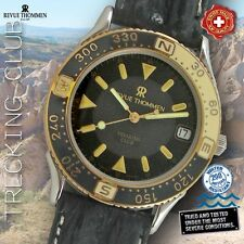 REVUE THOMMEN, TREKKING CLUB, ST. STEEL-BICOLOR, BLACK DIAL AND LEATHERBAND
