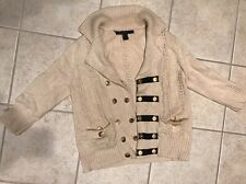 Marc By Marc Jacobs L Beige Nude Black Gold Button 3/4 Sleeve Sweater Cardigan