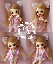 "5""-6""14cm BJD Fabric Fur wig Flaxen Color for AE PukiFee Lati 1/8 Doll Antiskid"
