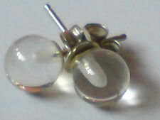 PRETTY STERLING SILVER &  ROCK CRYSTAL SMALL BALL STUD  6mm. EARRINGS £6.50  NWT