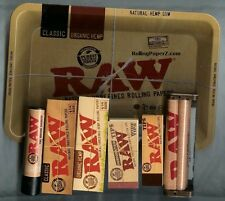 RAW ROLLING SAMPLER METAL TRAY+ 1 1/4 CLASSIC & HEMP PAPERS+TIPS+MACHINE+LIGHTER