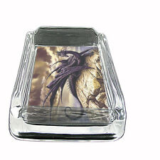 Glass Square Ashtray Dragon Design-007 Custom Fantasy Medieval Mythology