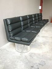 4  70'S  HIGH END FUTURISTIC DESIGNER LEATHER DINING CHAIRS W FAT CHROME BASES