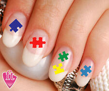 Autism Awareness Ribbon Puzzle Piece Nail Art Decal Sticker Set PUZ901