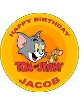 7.5 ROUND TOM & JERRY EDIBLE ICING BIRTHDAY CAKE TOPPER