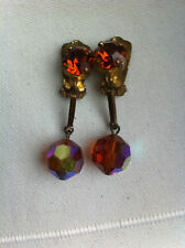 Bijou Ancien - Boucles d'oreilles Pendantes - CLIPS - Old Earrings - Glass Beads