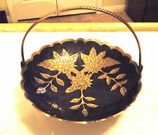 NEW BRASS  ENAMEL DISH WITH MOVABLE HANDLE~ CANDY/TRINKET DISH~BRASS FLOWERS~