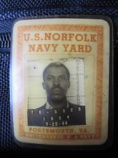 WW2 1944 BATTLE NORMANDY PORTSMOUTH VA NAVY YARD AFRICAN AMERICAN PHOTO BADGE