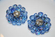 VINTAGE LARGE COUTURE BLUE AB TONED CZECH CRYSTAL AND RHINESTONES CLIP EARRINGS