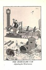 Windscreen.Home-made car.Automobile.1940.W.Heath Robinson.Cartoon.Art