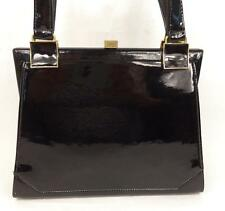 BLACK PATENT LEATHER BAG HANDBAG FRAME KELLY