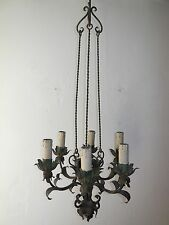 ~c 1910 French Green Wrought Iron Original Vintage Old Chandelier~