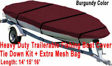 Trail-able Deluxe 14' - 16' Aluminum Fishing V-Hull Boat Cover Burgundy Color