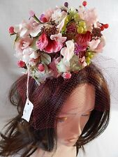 NWT Vintage HAT❤️PINK SILK FLOWER PILLBOX BIRDCAGE Lenore Marshall-NY 1960 Youth