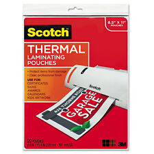"""Scotch Letter Size Thermal Laminating Pouches, 3 Mil, 11 1/2 X 9, 20/pack"""