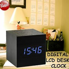 Cube Modern Wooden Wood Digital LED Desk Alarm Clock Thermometer Timer Calendar