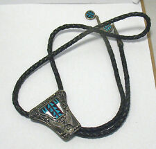 VINTAGE STERLING SILVER BOLO TIE INLAID ONYX MOP TURQUOISE CORAL 2 X 1 3/4""
