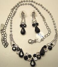 Necklace Earring Set Black Rhinestone Cluster Adjustable Pear Round NWT L1239