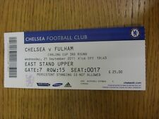 21/09/2011 Ticket: Chelsea v Fulham [Football League Cup] . Thanks for viewing t