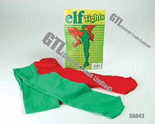 GREEN & RED ELF TIGHTS Unisex Xmas Christmas FancyDress Accessories Play Theatre