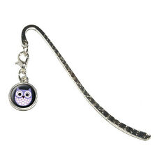 Cute Purple Owl - Metal Bookmark Page Marker with Charm