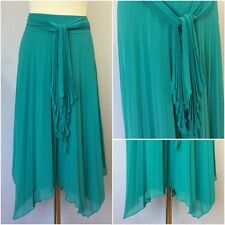 Précis Petite Ladies Green Chiffon Knife Pleat Asymmetric Hem Full Skirt Uk 14