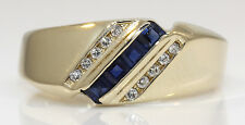 MEN'S 14K YELLOW GOLD RING WITH SAPPHIRE AND DIAMONDS! 6.6 GRAMS #S17