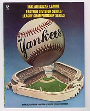 1981 American League Division ALCS Series Yankees vs Oakland Baseball PROGRAM