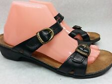 Womens TAOS Size 42 / 11 Black Leather Double Buckle Support Sandal Shoes Slide