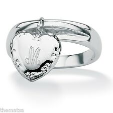 STERLING SILVER PLATED PERSONALIZED INITIAL HEART CHARM RING SIZE 6 7 8 9 10
