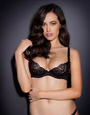 Agent Provocateur LARIZSA BRA in BLACK SATIN & FRENCH EMBROIDERY - 36DD - BNWT