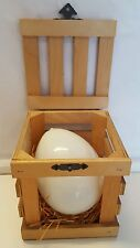 """Glass Egg in Wooden Crate Novelty Decoration 4.5"""" x 3.25"""" Collectible Egg"""