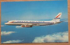 AVIATION POSTCARD AIR LINER Plane Craft Ways Card Flight DC 8 Delta Jet Fly Old