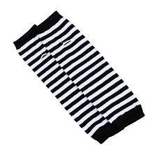 Lady Stretchy Soft Arm Warmer Long Sleeve Fingerless Gloves Black White Stripe M