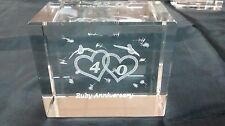Bevelled Edge Glass 3D Laser Block Paperweight : 40th Ruby Anniversary