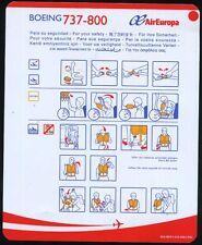Air Europa B 737 - 800 safety card AEA-MOP3-018-AN03-R02 - used cond sc589ax