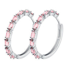 18K White Gold Plated AAA+ Cubic Zirconia CZ Loop Circle Hoop Earrings for Women