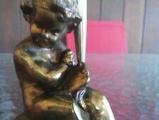 Vintage / Antique Art Deco Vanity Mirror in Brass with Small Girl