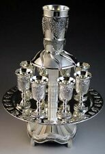 Wine Fountain Kiddush Cup divider, Silver Plated, Grapes Design, 8 cups