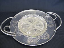 Wrought Aluminum Farberware Brooklyn NY Serving Relish Tray With Glass Plate