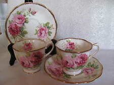 2  ROYAL ALBERT BONE CHINA  CUP/SAUCER  ENGLAND  AMERICAN BEAUTY PATTERN