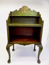 Vintage Used Chinese Motif Asian Green Wood Telephone Stand Cabinet Shelf Old